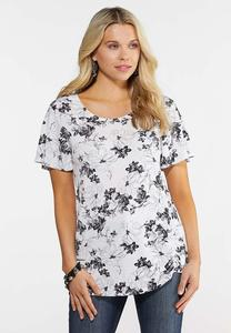 Plus Size Black And White Floral Tee