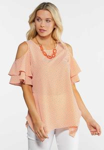 Plus Size Orange Dotted Flutter Sleeve Top