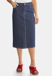 Plus Size Americana Stripe Denim Skirt