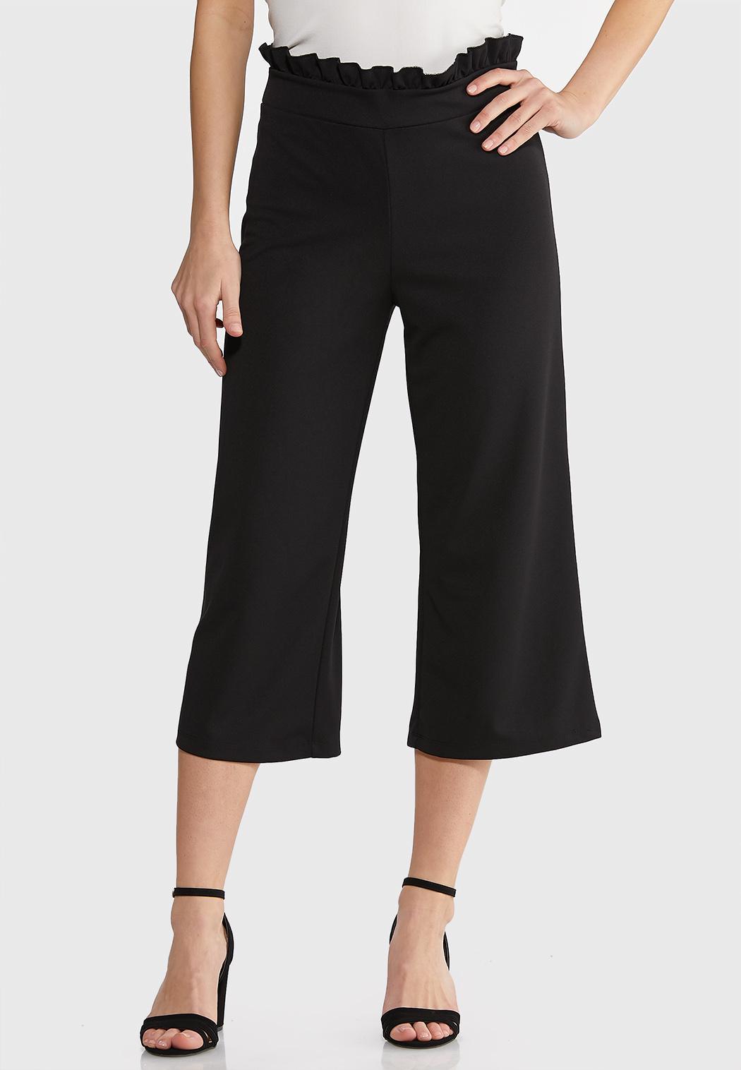 Cropped Ruffle Waist Pants