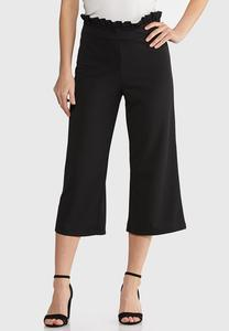 Cropped Ruffle Waist Pants