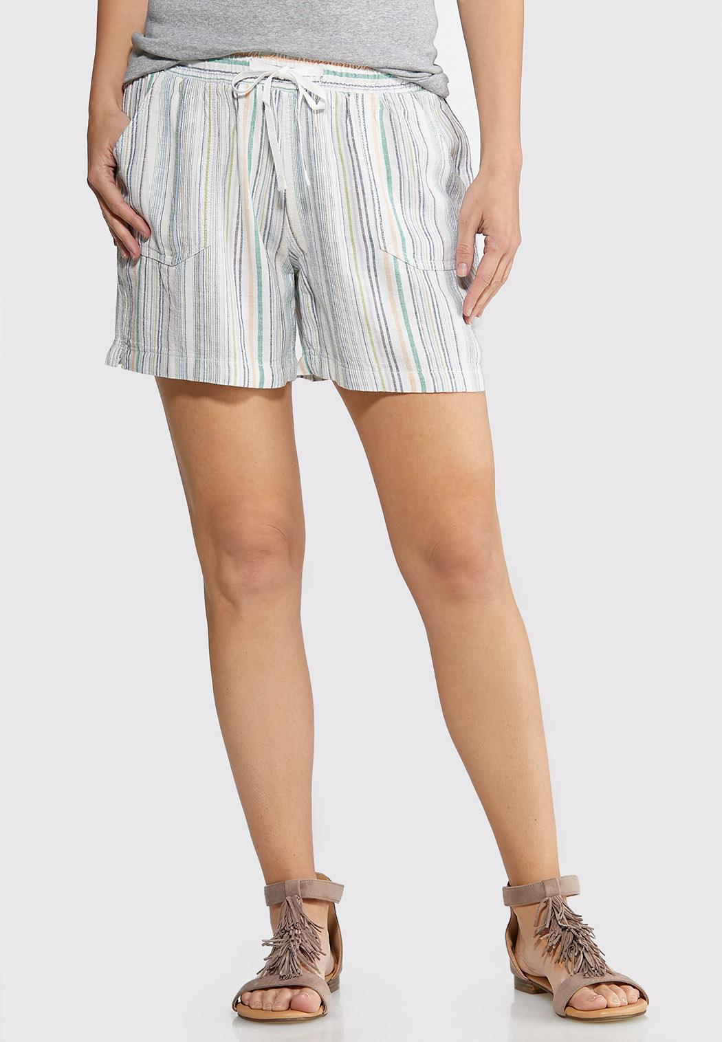 Drawstring Stripe Linen Shorts