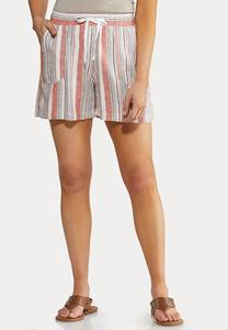 Drawstring Stripe Linen Shorts