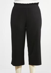 Plus Size Cropped Ruffle Waist Pants