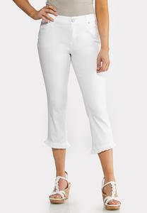 Cropped White Ruffled Jeans