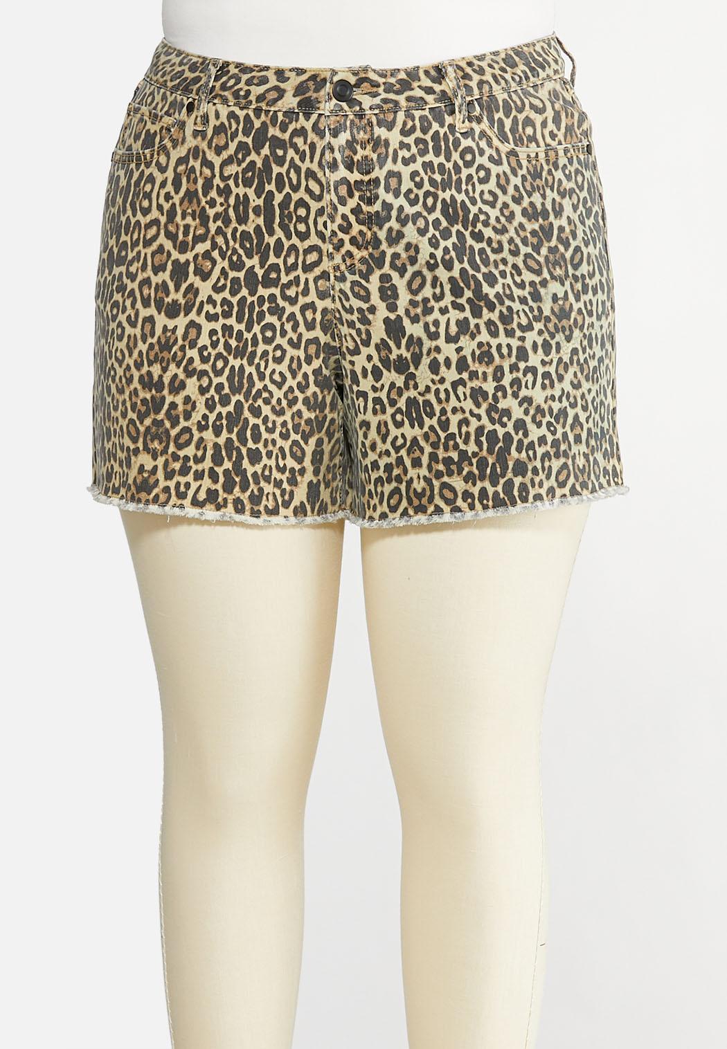 Plus Size Leopard Denim Shorts