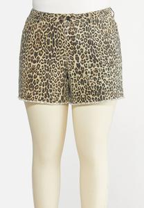 Plus Size Leopard Denim Shorts