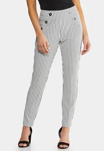 Striped Button Ankle Pants