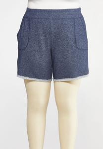 Plus Size Dark Wash French Terry Shorts