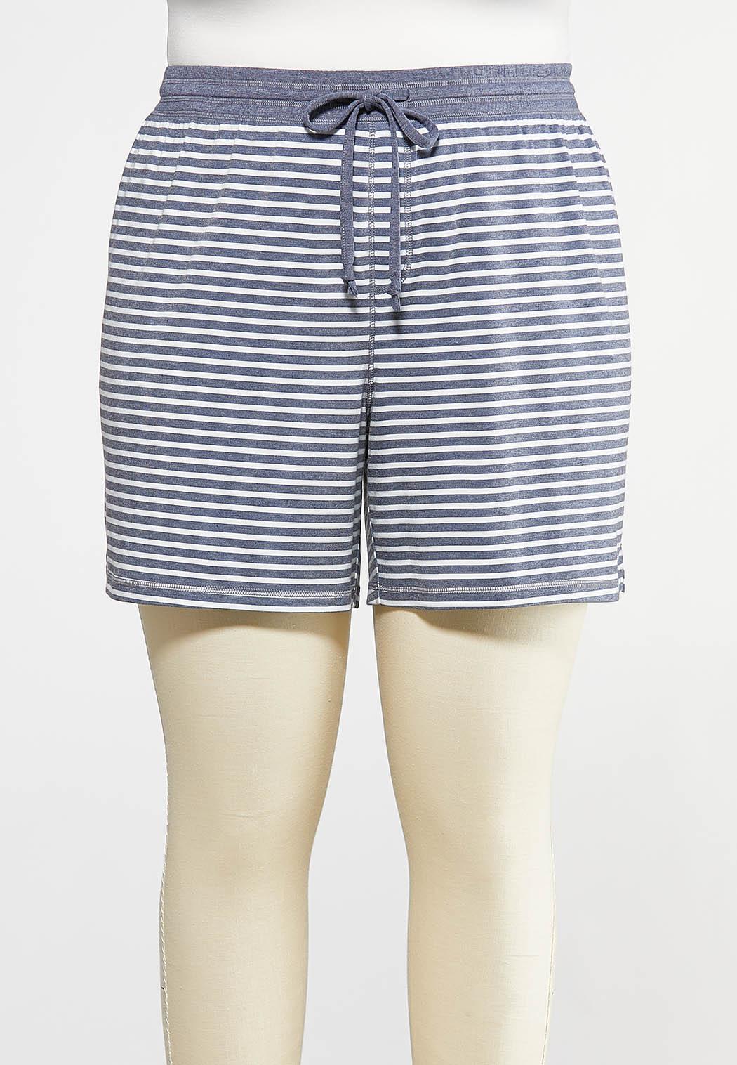 Plus Size Stripe Drawstring Shorts