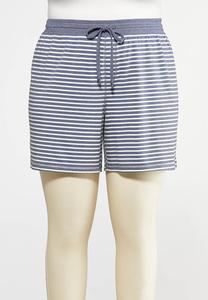 8934be4c397 Plus Size Stripe Drawstring Shorts