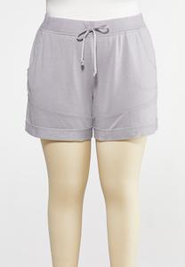 Plus Size Faded Wash French Terry Shorts