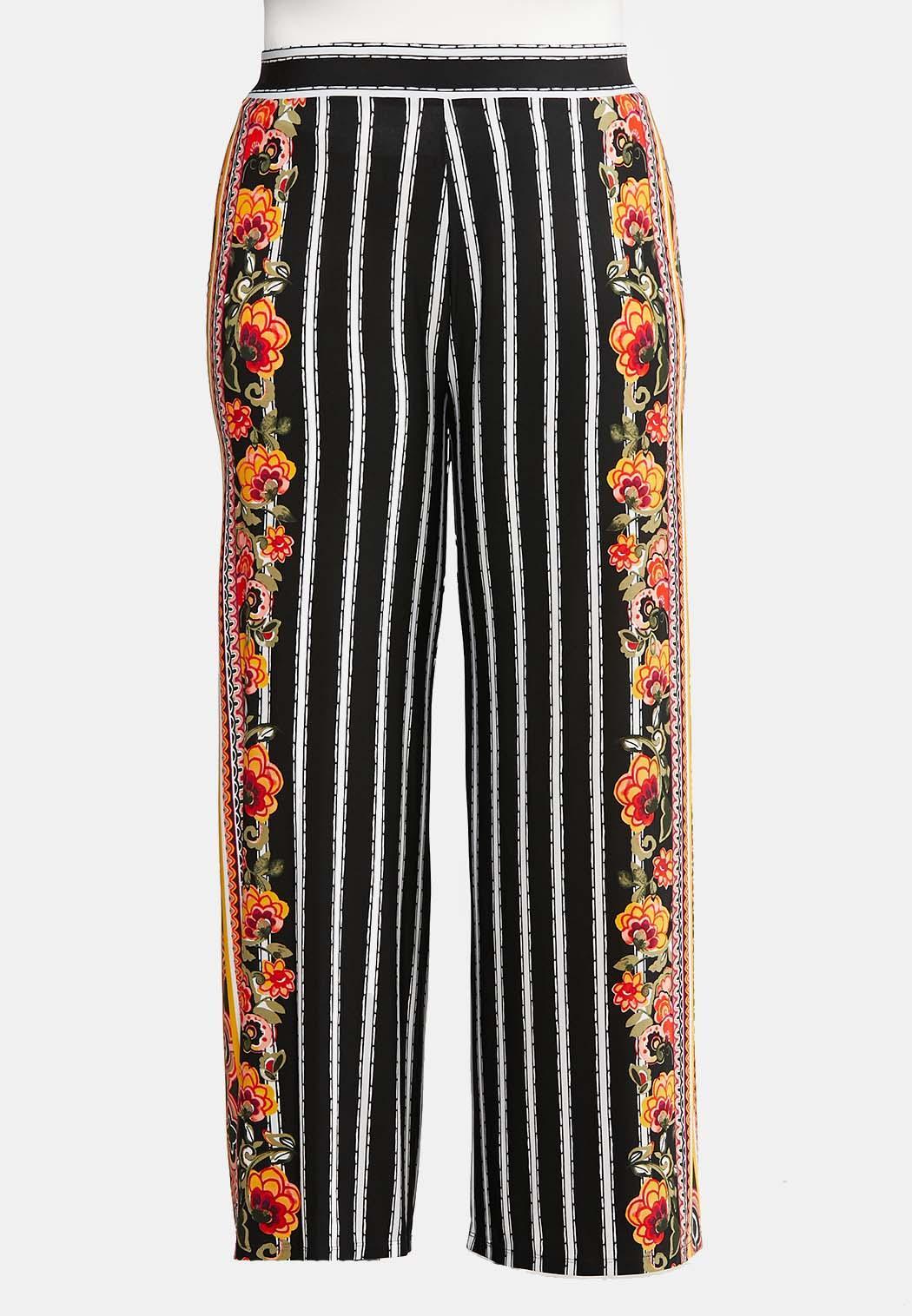 Plus Size Floral Striped Palazzo Pants
