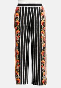 Plus Size Floral Striped Palazzo Pants