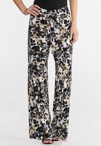 Textured Floral Tie Waist Pants
