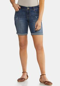 Cuffed Dark Denim Shorts