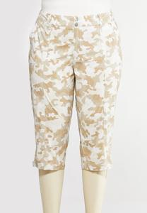Plus Size Camo Cropped Pants