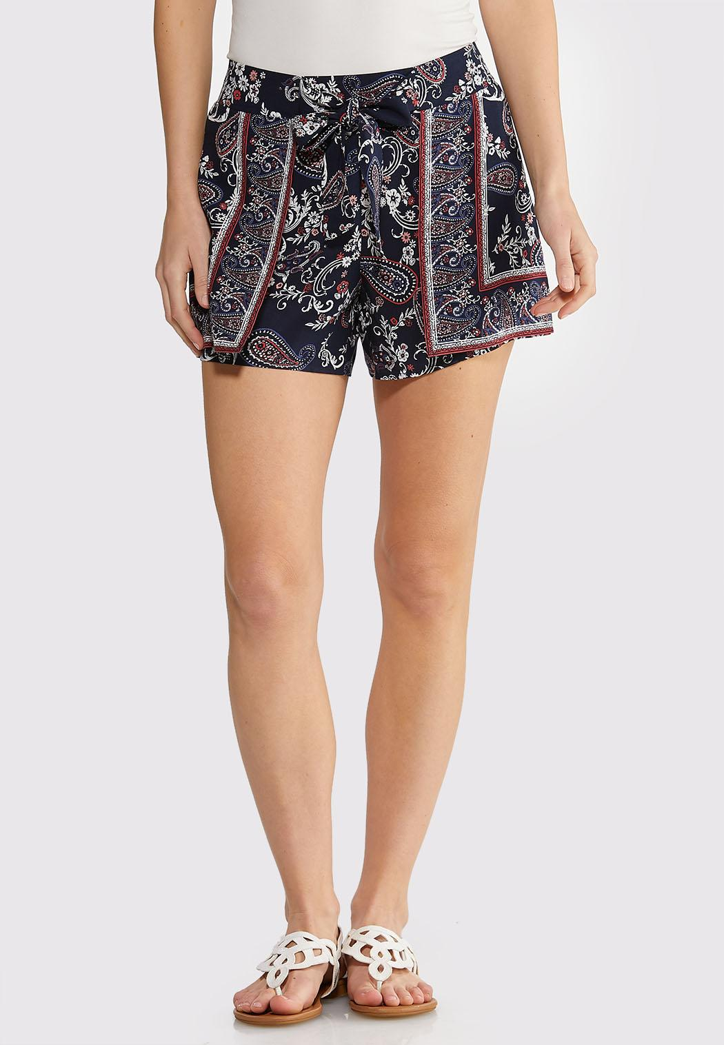 Paisley Floral Tie Front Shorts
