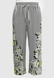 Plus Size Floral Border Striped Palazzo Pants