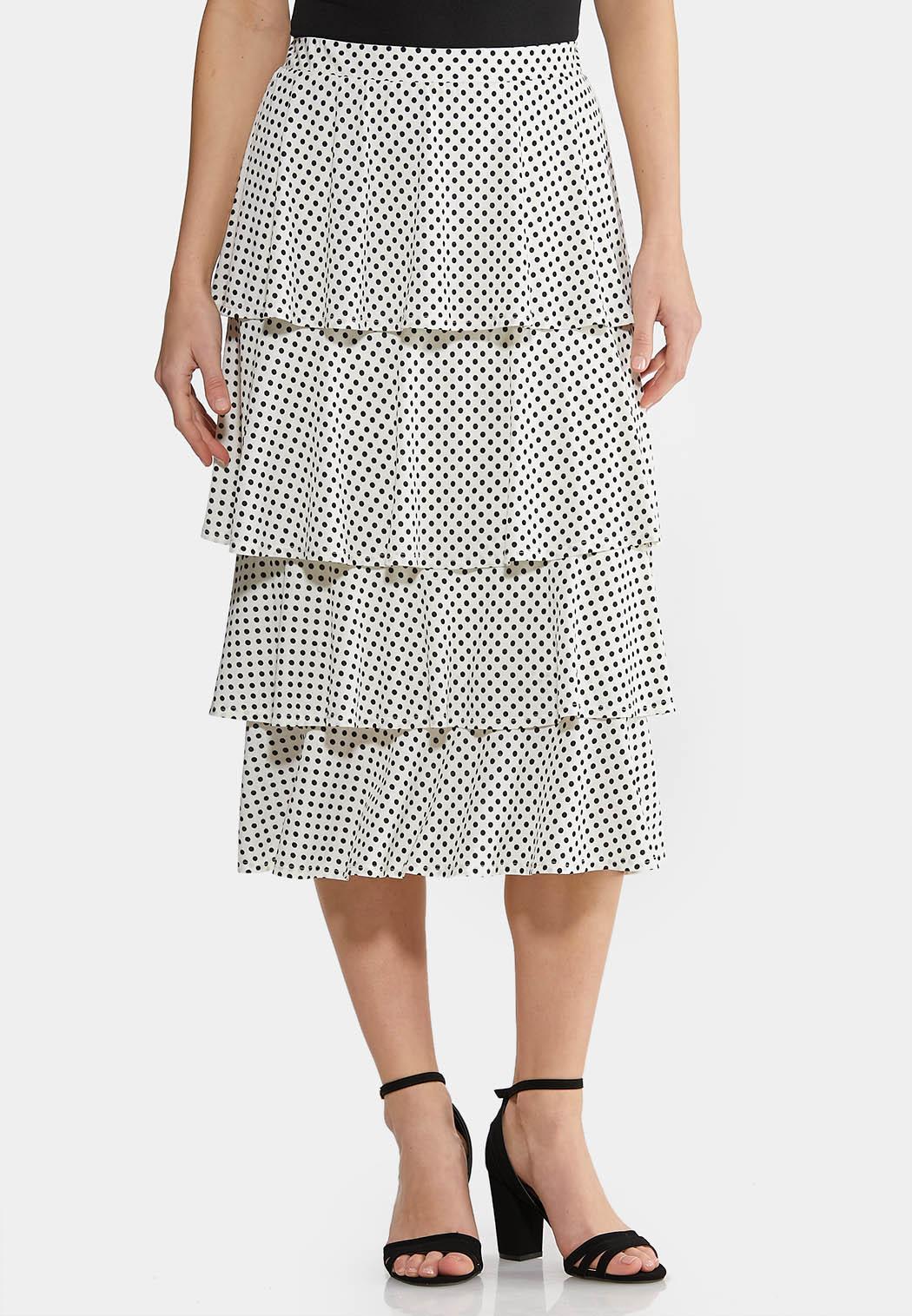 Plus Size Tiered Dot Midi Skirt