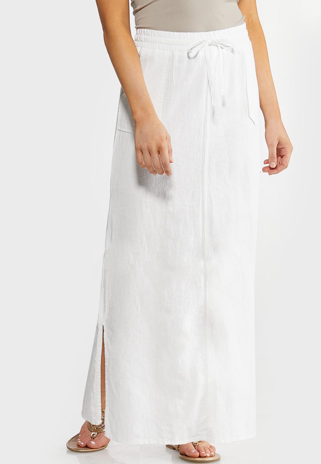 Plus Size Drawstring Waist Linen Maxi Skirt