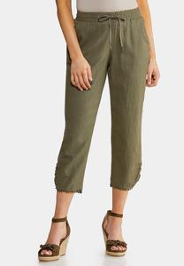 Embellished Cropped Linen Pants