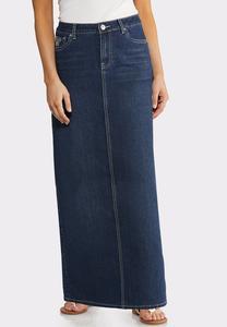 Plus Size Peacock Pocket Denim Skirt