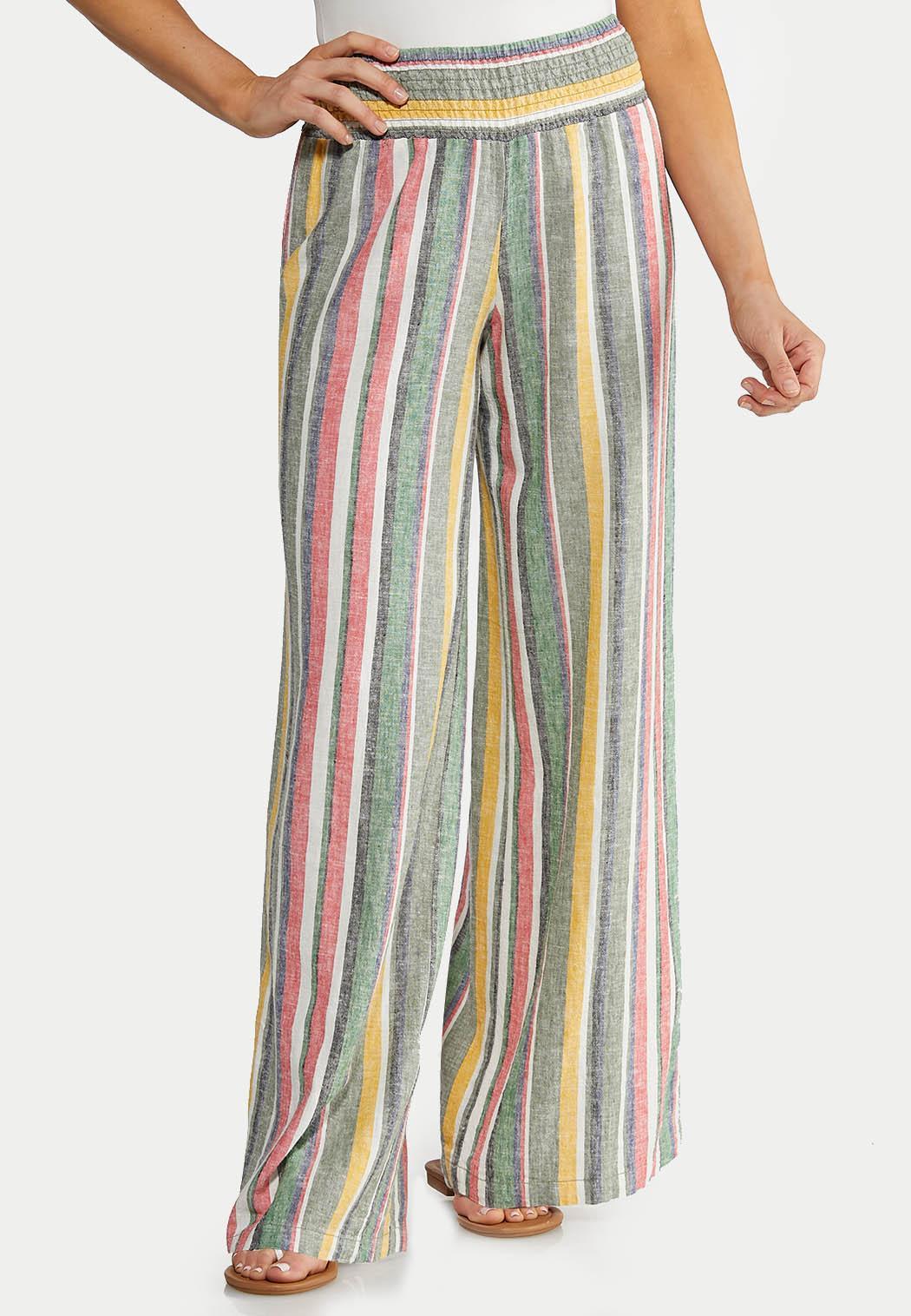 dcd19c666d Stripe Wide Leg Linen Pants Pants Cato Fashions