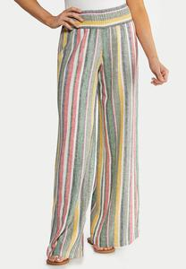 Stripe Wide Leg Linen Pants