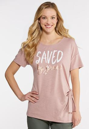 Plus Size Saved By Grace Graphic Tee