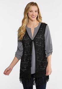 Plus Size Fringed Sweater Vest