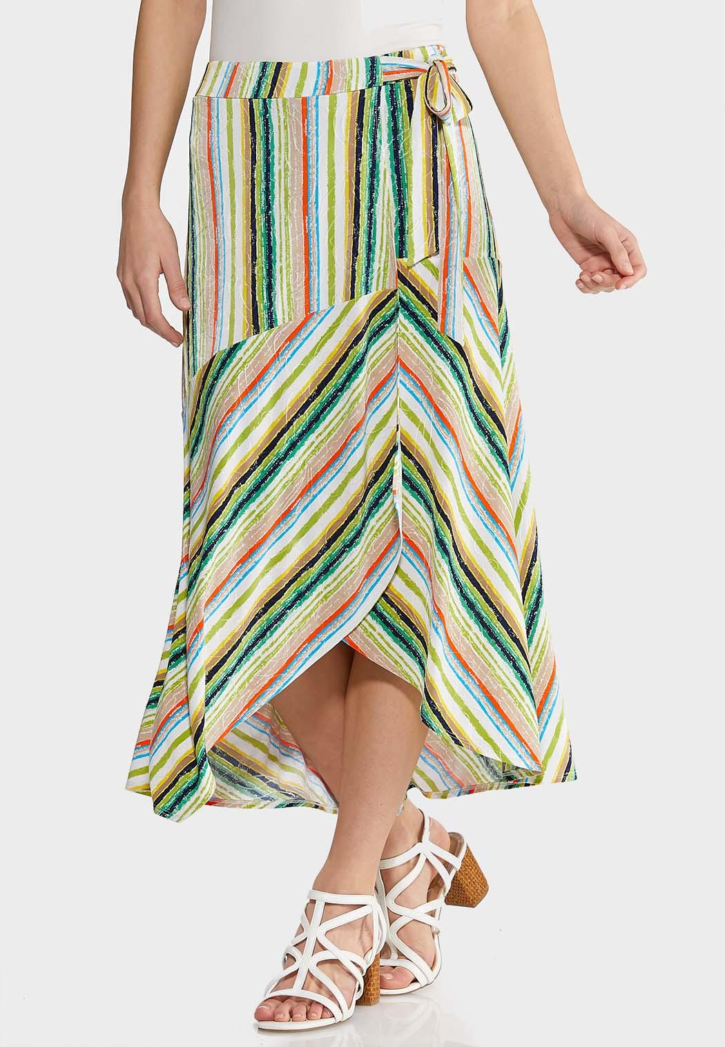Plus Size Summer Stripe Faux Wrap Skirt