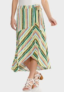 Plus Size Summer Stripe Faux Wrap Skirt