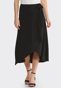Plus Size Faux Wrap Midi Skirt
