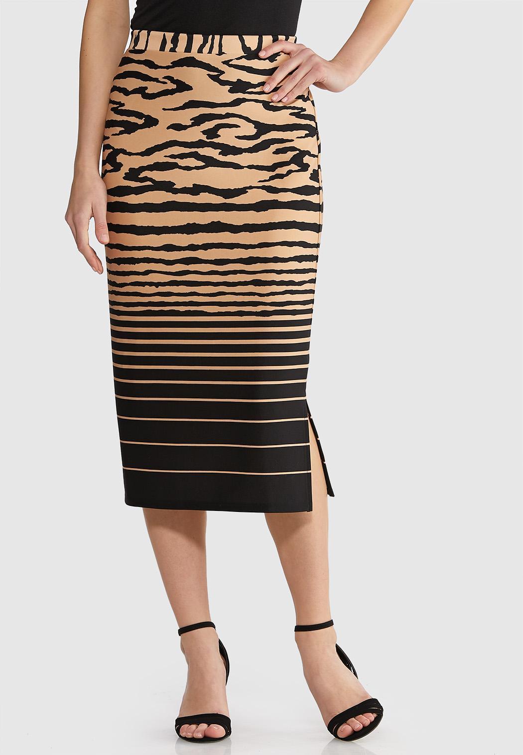 Mixed Print Scuba Midi Skirt
