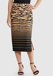Plus Size Mixed Print Scuba Skirt