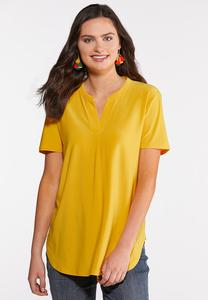 Plus Size Solid Notched V-Neck Top