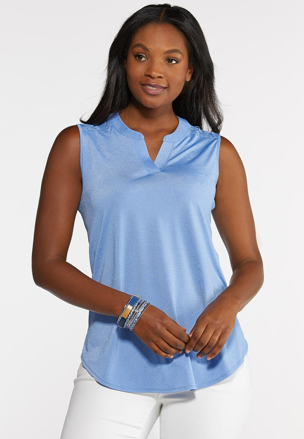 Plus Size Lace Trim Pullover Tank