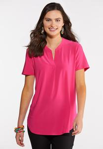 Solid Notched V-Neck Top