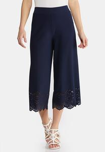 Cropped Laser Cut Pants