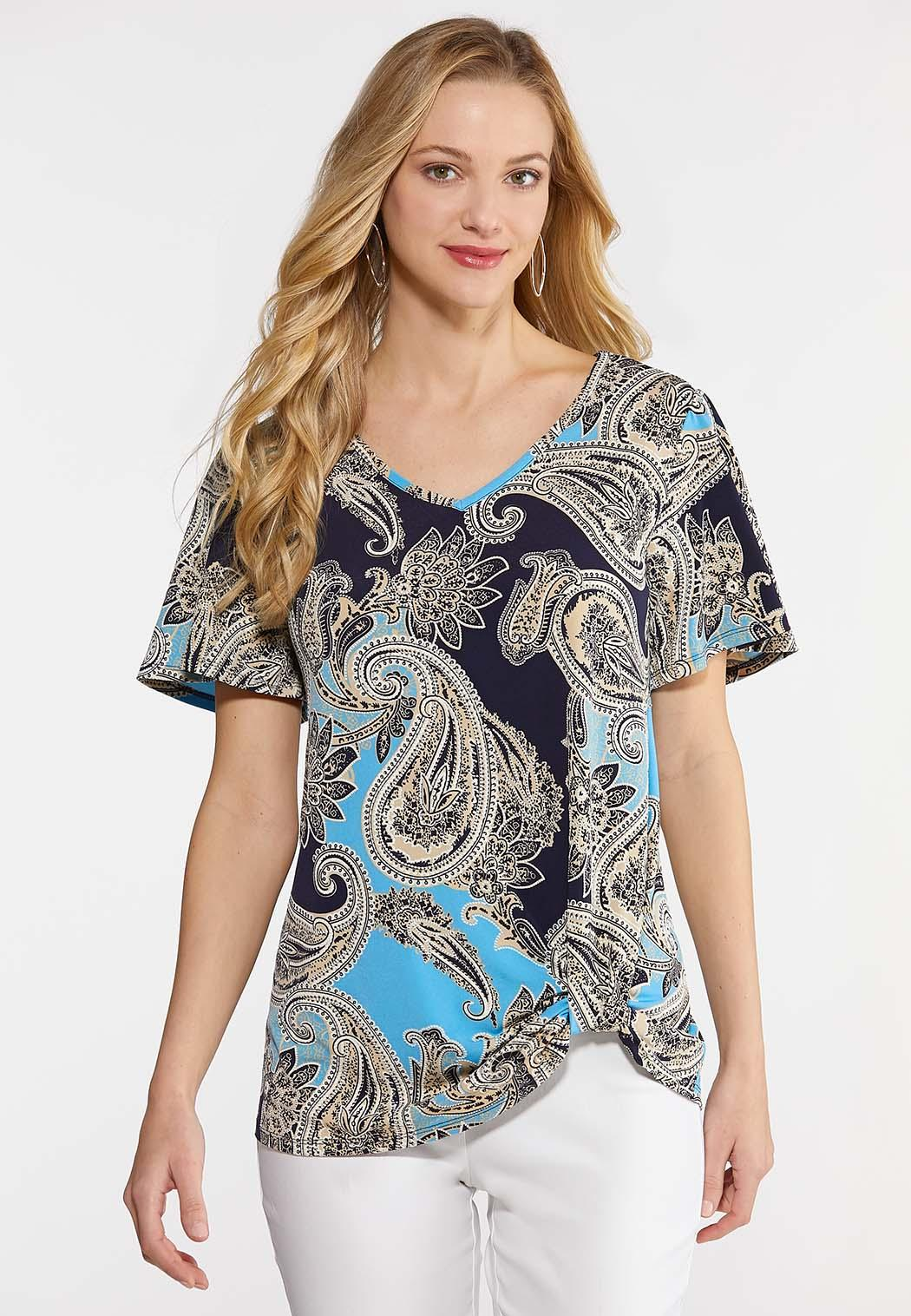 5fbb27892508f6 Paisley Knotted Front Top alternate view Paisley Knotted Front Top