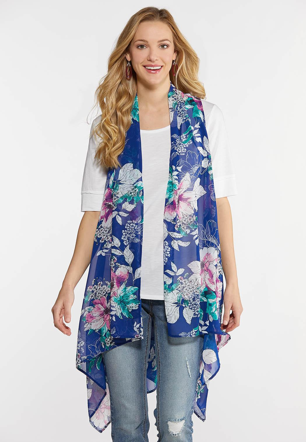 Plus Size Sheer Floral Vest