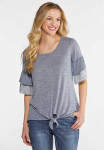 Tiered Stripe Sleeve Knot Top