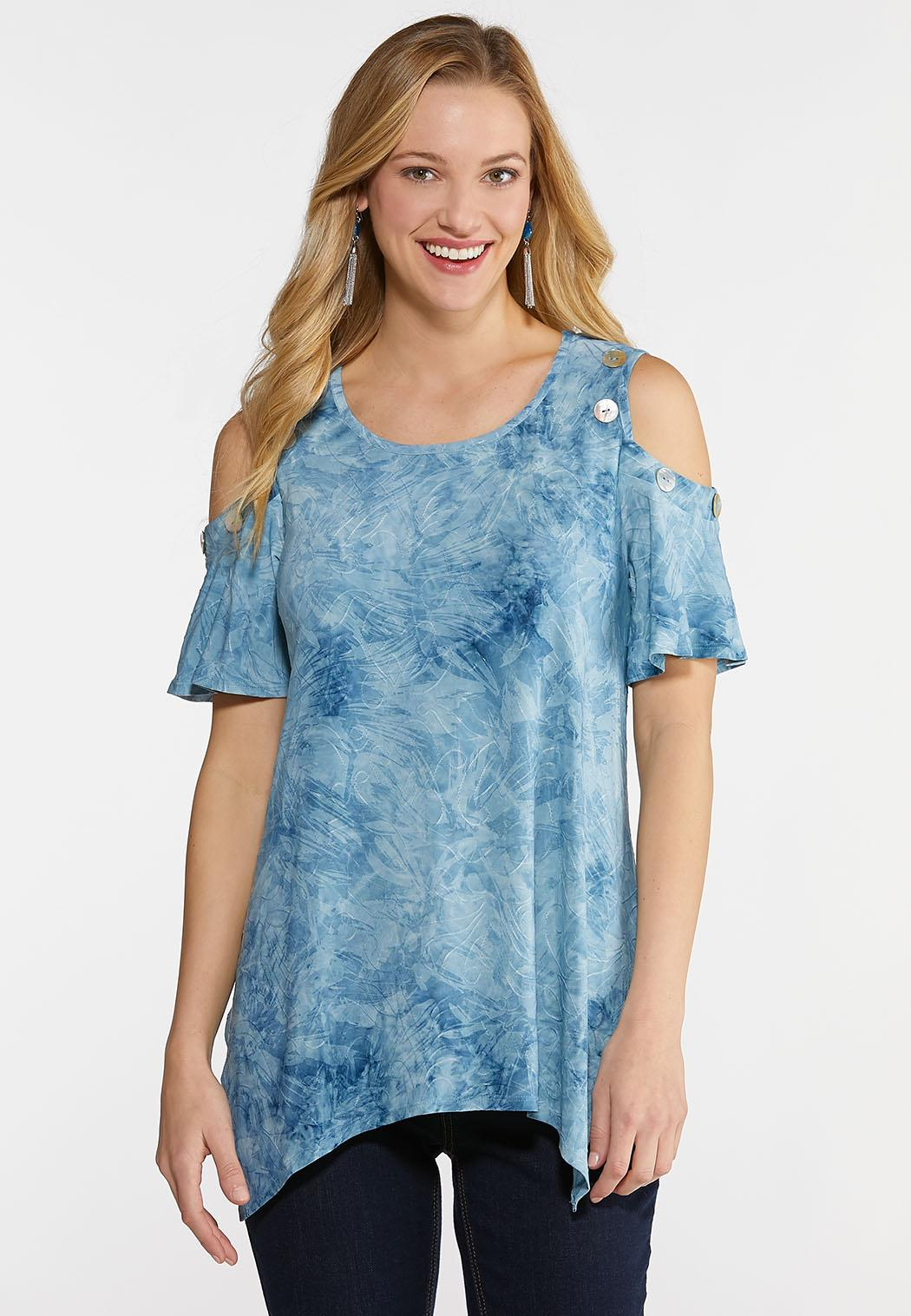 dc31445b68e117 Cold Shoulder Tie Dye Top Tees   Knit Tops Cato Fashions