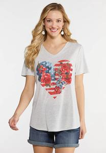 Plus Size Americana Floral Heart Tee