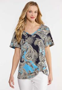 Plus Size Paisley Knotted Front Top