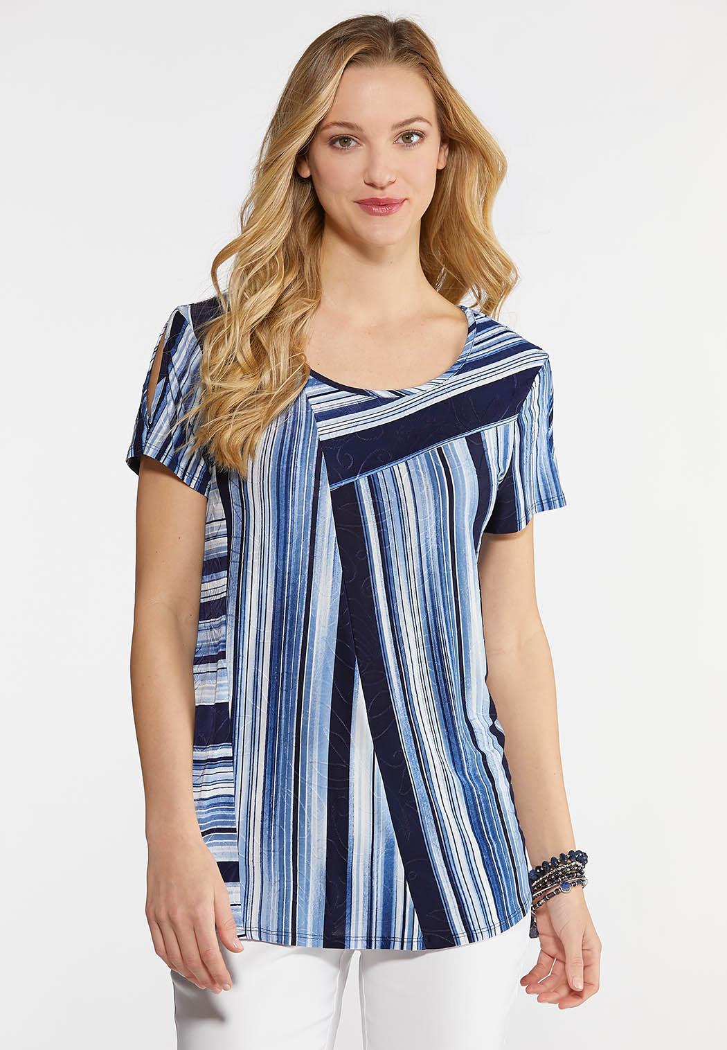 0f12e105c8 Plus Size Stripe Slit Sleeve Top Tees   Knit Tops Cato Fashions