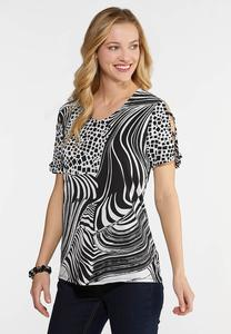 Plus Size Black And White Mixed Print Top