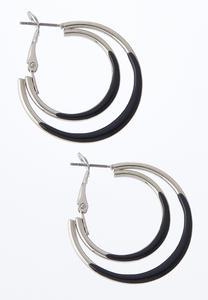 Double Color Hoop Earrings