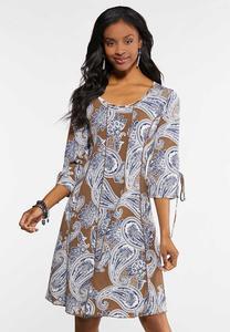 Plus Size Seamed Puff Print Paisley Dress